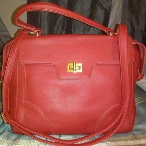 Pink Haley Red Leather Satchel/Shoulder Bag